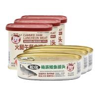 小猪呵呵火腿午餐肉罐头198g*3+梅菜鲮鱼罐头184g*3